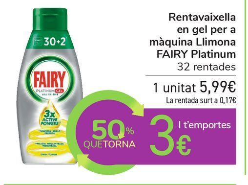 Oferta de Lavavajillas en gel para máquina Limón FAIRY Platinum por 5,99€