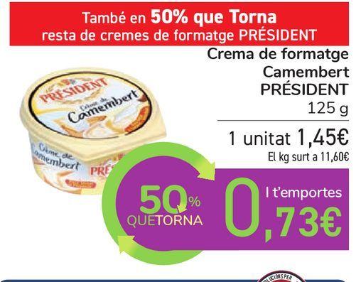 Oferta de Crema de queso camembert PRÉSIDENT por 1,45€
