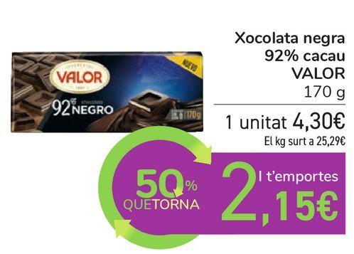 Oferta de Chocolate negro 82% cacao VALOR por 4,3€