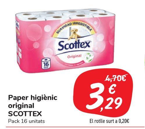 Oferta de Papel higiénico original SCOTTEX por 3,29€