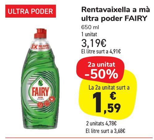 Oferta de Lavavajillas a mano ultra poder FAIRY por 3,19€