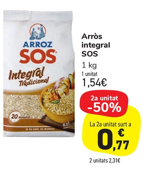 Oferta de Arroz Integral SOS por 1,54€