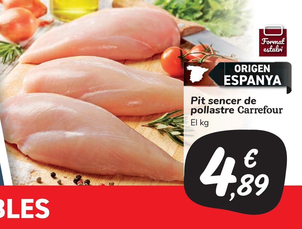 Oferta de Pechuga entera de pollo Carrefour por 4,89€
