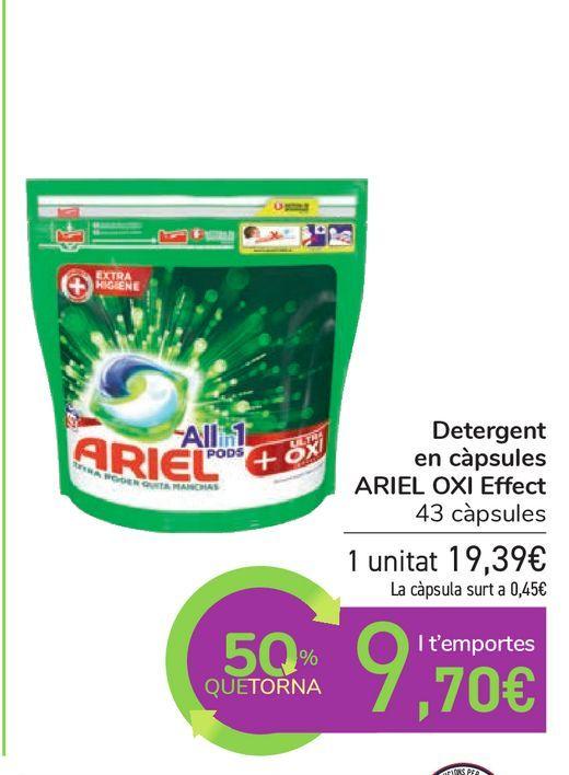 Oferta de Detergente en cápsulas ARIEL OXI Effect por 19,39€