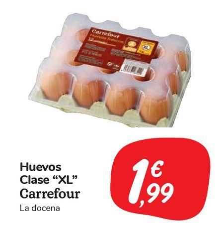 """Oferta de Huevos Clase """"XL"""" Carrefour por 1,99€"""