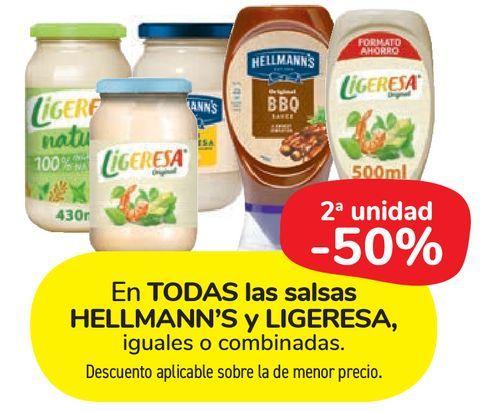 Oferta de En TODAS las salsas HELLMANN'S y LIGERESA por