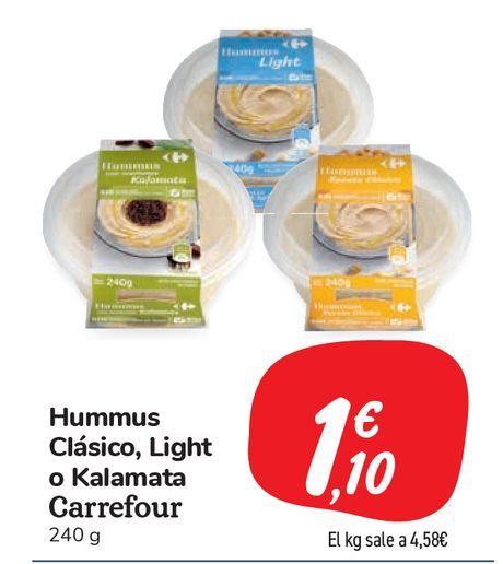 Oferta de Hummues Clásico, Light o Kalamata Carrefour por 1,1€