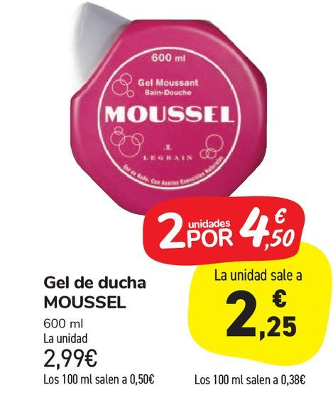 Oferta de Gel de ducha MOUSSEL por 2,99€