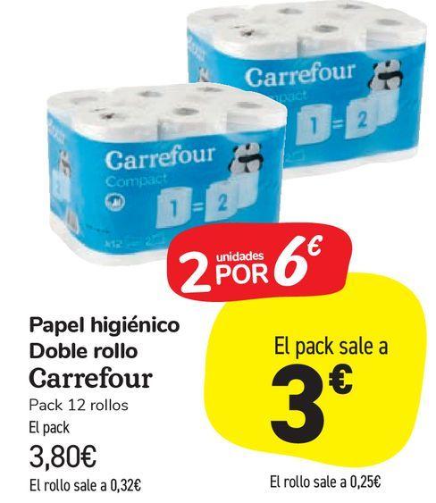 Oferta de Papel higiénico Doble Rollo Carrefour por 3,8€