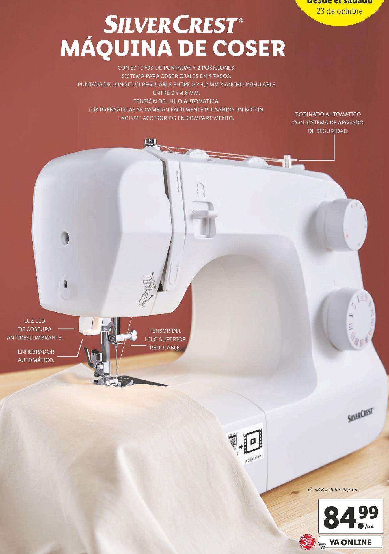Oferta de Máquina de coser SilverCrest por 84,99€