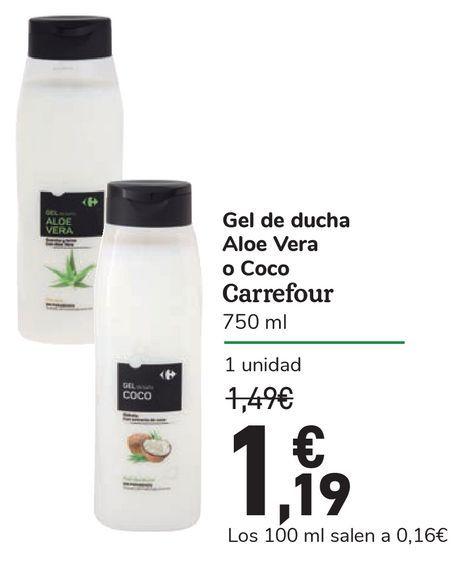 Oferta de Gel de ducha Aloe Vera o Coco Carrefour por 1,19€