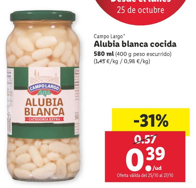Oferta de Alubias blancas Campo Largo por 0,39€