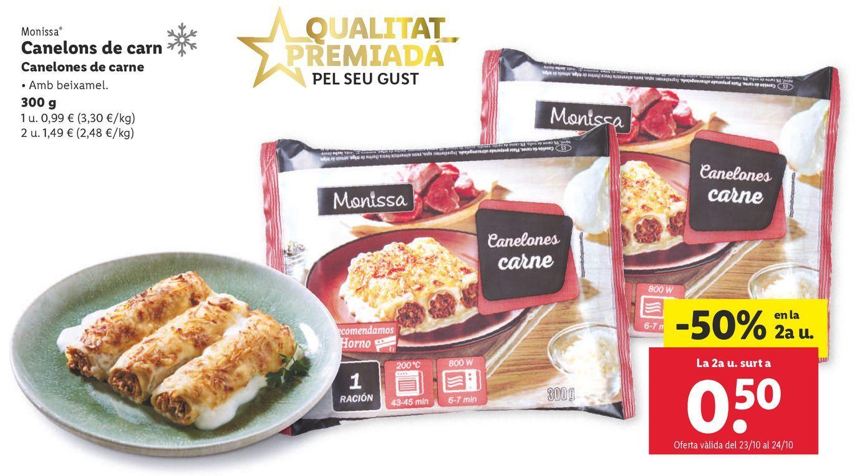 Oferta de Canelones de carne Monissa por 0,99€