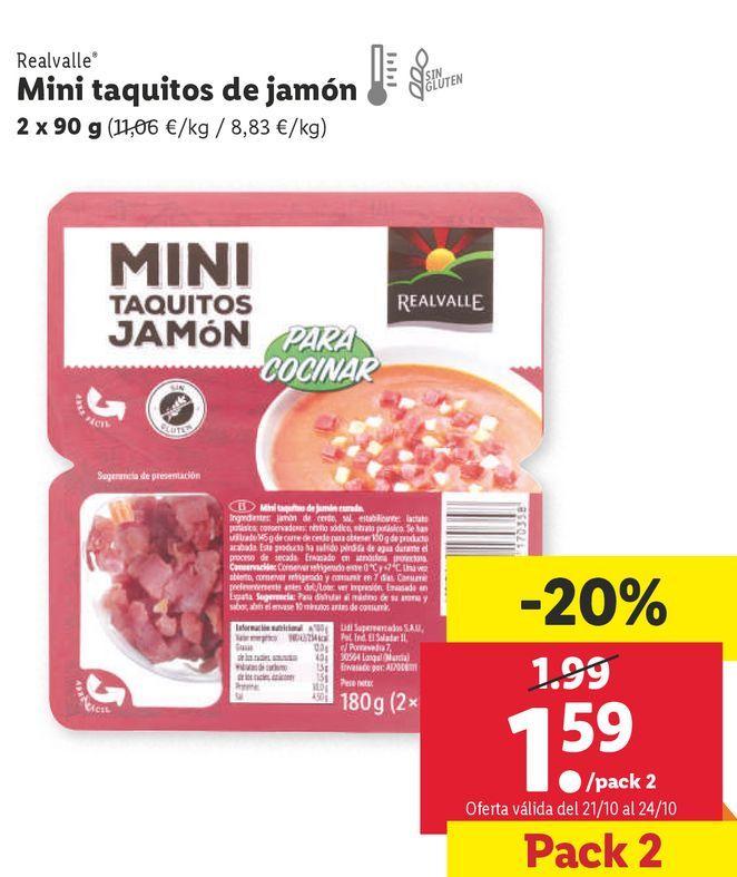 Oferta de Tacos de jamón por 1,59€