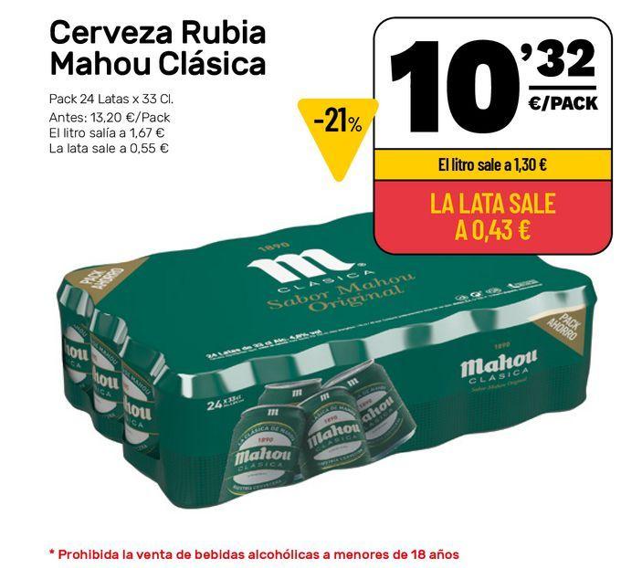 Oferta de Cerveza rubia Mahou por 10,32€