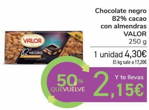 Oferta de Chocolate negro 82% cacao con almendras VALOR por 4,3€