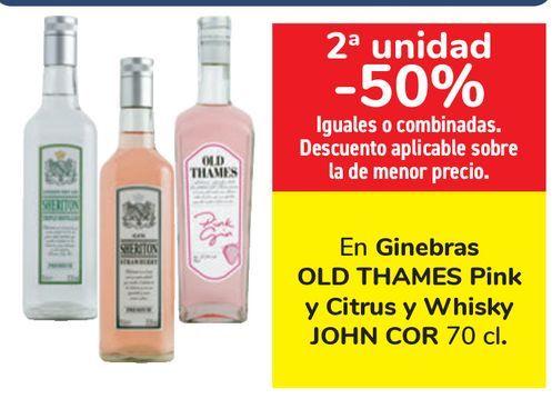 Oferta de Ginebra OLD THAMES Pink y Citrus y Whisky JOHN COR  por