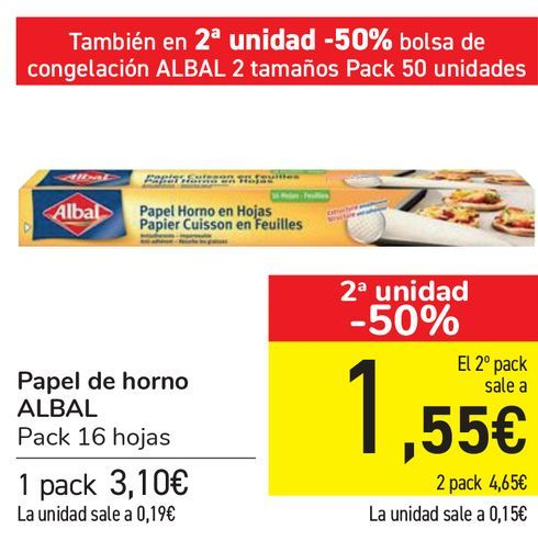 Oferta de Papel de horno ALBAL   por 3,1€