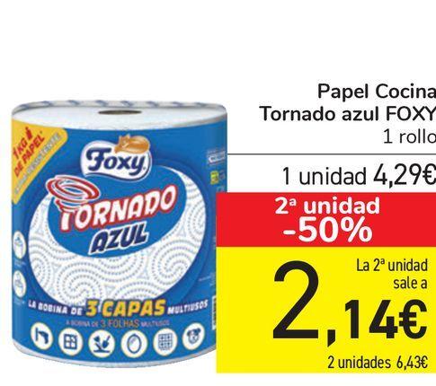 Oferta de Papel Cocina Tornado azul FOXY  por 4,29€