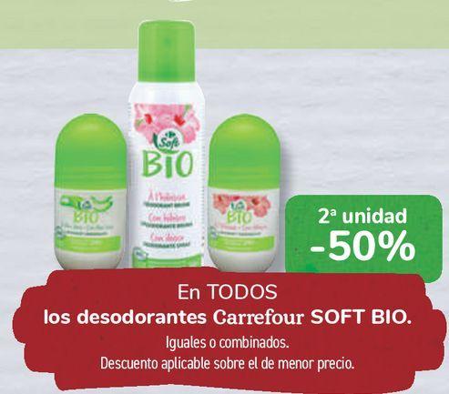 Oferta de En TODOS los desodorantes Carrefour SOFT BIO  por