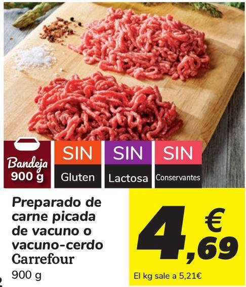 Oferta de Preparado de carne picada de vacuno o vacuno-cerdo Carrefour  por 4,69€