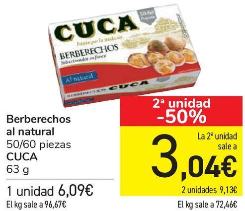 Oferta de Berberechos al natural CUCA  por 6,09€