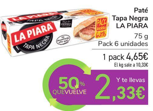Oferta de Paté Tapa Negra LA PIARA  por 4,65€