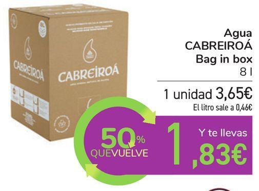 Oferta de Agua CABREIROÁ Bag in box por 3,65€