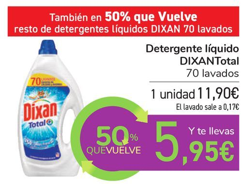 Oferta de Detergente líquido DIXAN Total  por 11,9€
