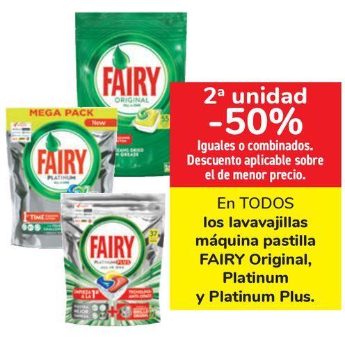 Oferta de En TODOS los lavavajillas máquina pastillas FAIRY Original, Platinum y Platinum  por