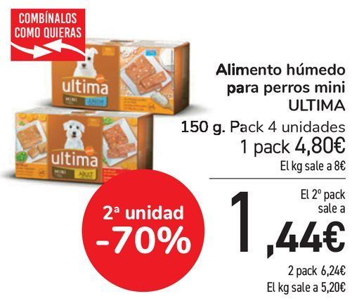 Oferta de Alimento húmedo para perros mini ULTIMA  por 4,8€