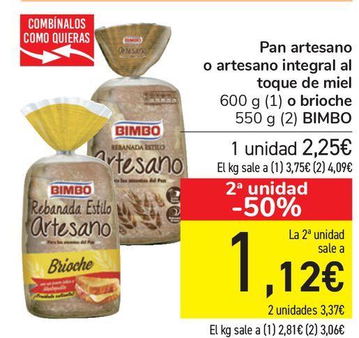Oferta de Pan artesano o artesano integral al toque de miel o brioche BIMBO  por 2,25€