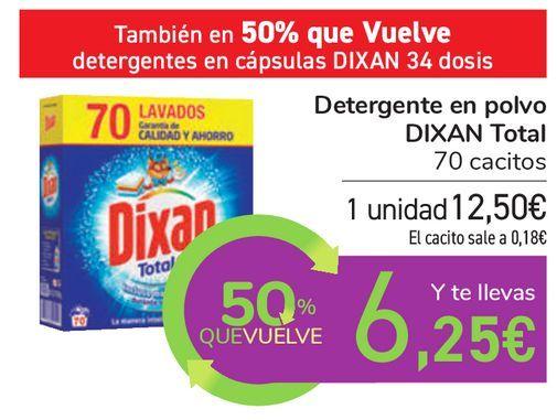 Oferta de Detergente en polvo DIXAN Total por 12,5€
