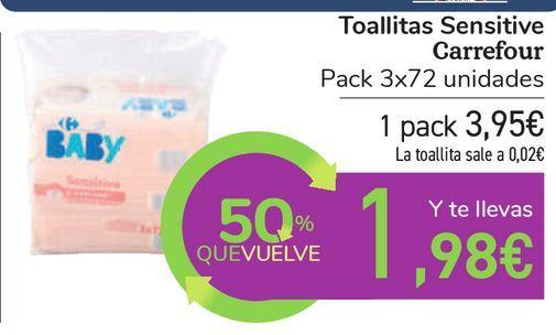 Oferta de Toallitas Sensitive Carrefour por 3,95€