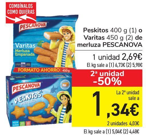 Oferta de Peskitos o Varitas de merluza PESCANOVA  por 2,69€