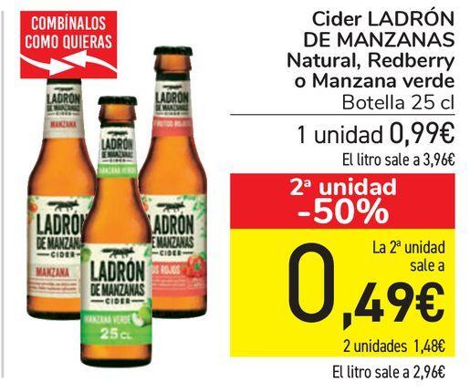 Oferta de Cider LADRÓN DE MANZANAS Natural, Redberry o Manzana verde por 0,99€