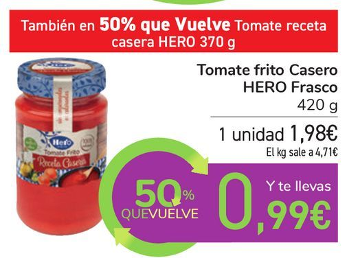 Oferta de Tomate frito Casero HERO Frasco por 1,98€