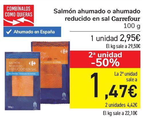 Oferta de Salmón ahumado o ahumado reducido en sal Carrefour  por 2,95€