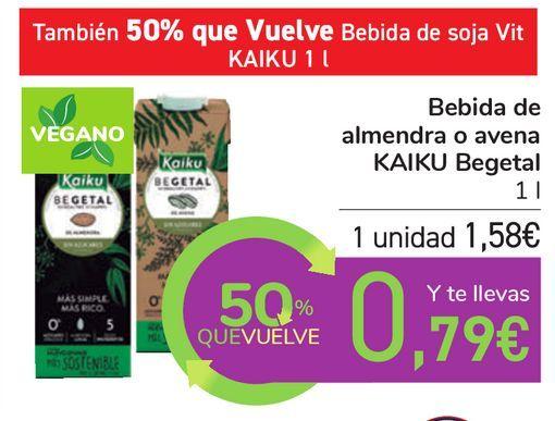 Oferta de Bebida de almendra o avena KAIKU Begetal  por 1,58€