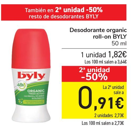 Oferta de Desodorante Organic roll-on BYLY  por 1,82€
