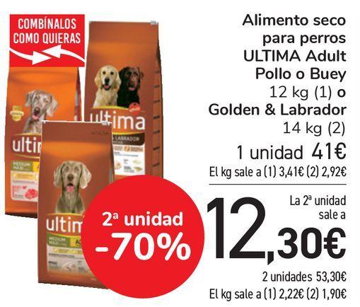 Oferta de Alimento seco para perros ULTIMA Adult Pollo o Buey o Golden & Labrador  por 41€