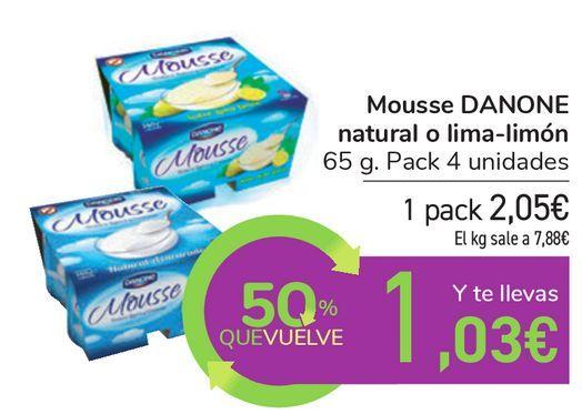 Oferta de Mousse DANONE natural o lima-limón  por 2,05€