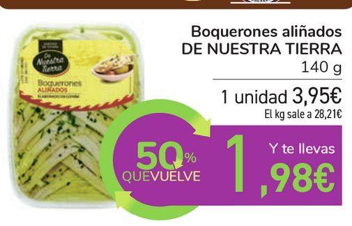 Oferta de Boquerones aliñados DE NUESTRA TIERRA por 3,95€
