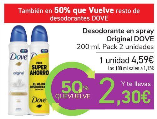 Oferta de Desodorante en spray Original DOVE por 4,59€
