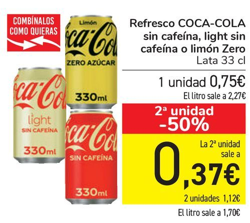 Oferta de Refresco COCA-COLA sin cafeína, light sin cafeína o limón Zero  por 0,75€