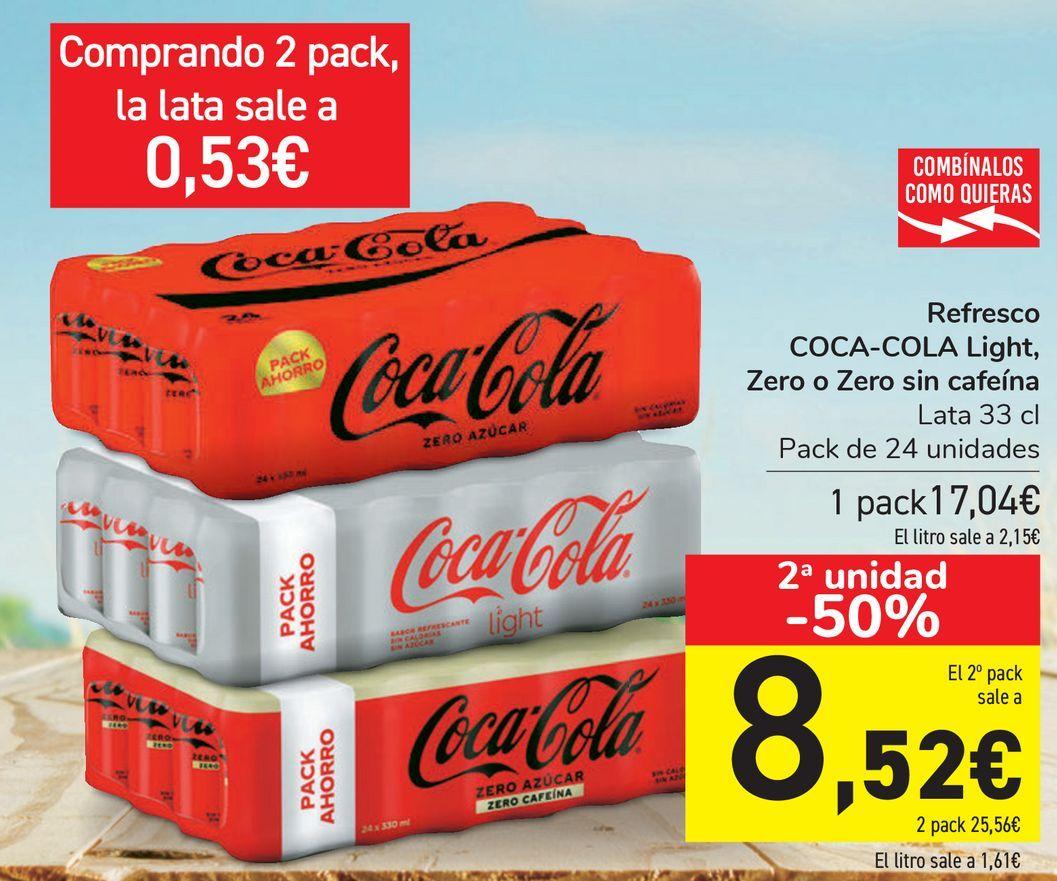 Oferta de Refresco COCA-COLA Light, Zero o Zero sin cafeína  por 17,04€