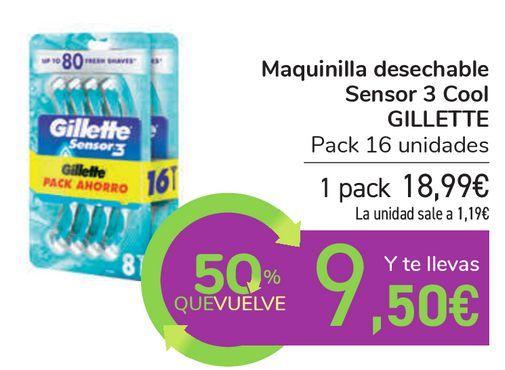 Oferta de Maquinilla desechable Sensor 3 Cool GILLETTE por 18,99€