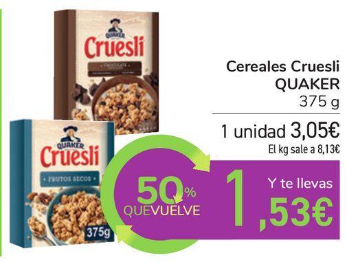 Oferta de Cereales Cruesli QUAKER por 3,05€