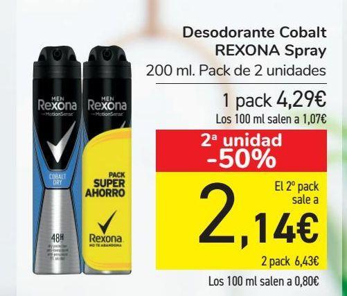 Oferta de Desodorante Cobalt REXONA Spray por 4,29€