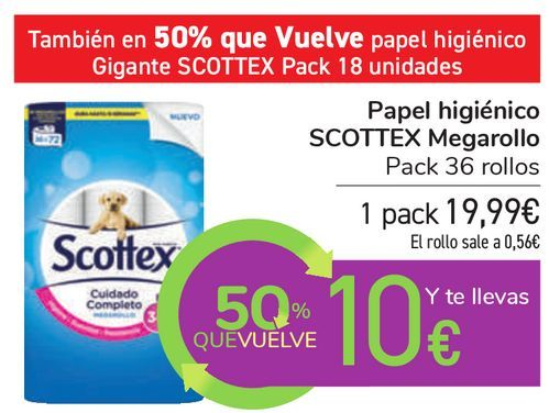 Oferta de Papel higiénico SCOTTEX Megarollo por 19,99€
